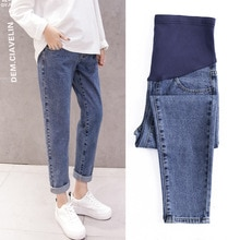 Pregnancy Abdominal Pants Boyfriend Jeans Maternity Pants For Pregnant Women Clothes High Waist Trou