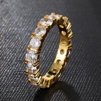 hip hop full cz cubic zircon iced out bling tready copper zircon ring for men women jewelry gold silver 8 11