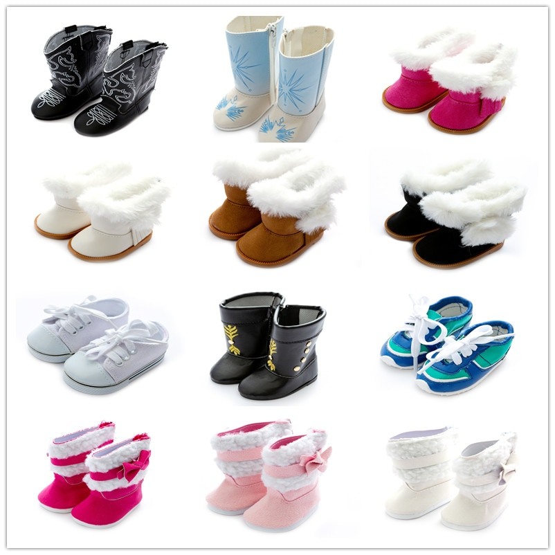 Doll Shoes Accessories Baby New Born Fit 17 inch 43cm Doll Black Blue Boots Red Blue Black Plush Shoes For Baby Birthday Gift недорого