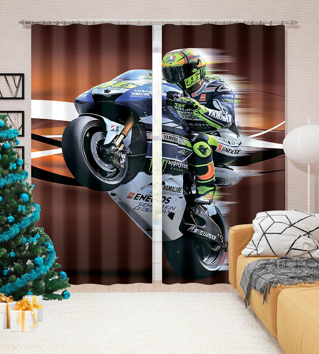 ثلاثية الأبعاد الطباعة كول سباق الدراجات النارية نمط الكبار غرفة نوم غرفة المعيشة الظل مخصص مجموعة الستائر غرفة نوم مع هوك الملحقات