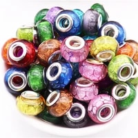 10pcs new round glitter large hole beads charms bulk fit pandora bracelet diy european curtains chain craft for jewelry making