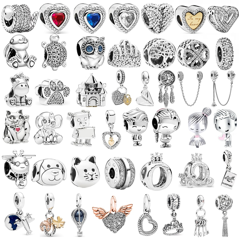 Silver Color Lucky Cat Safety Chain Dog Paw Crown Owl Love Pendant Fit Pandora Charms Bracelets DIY