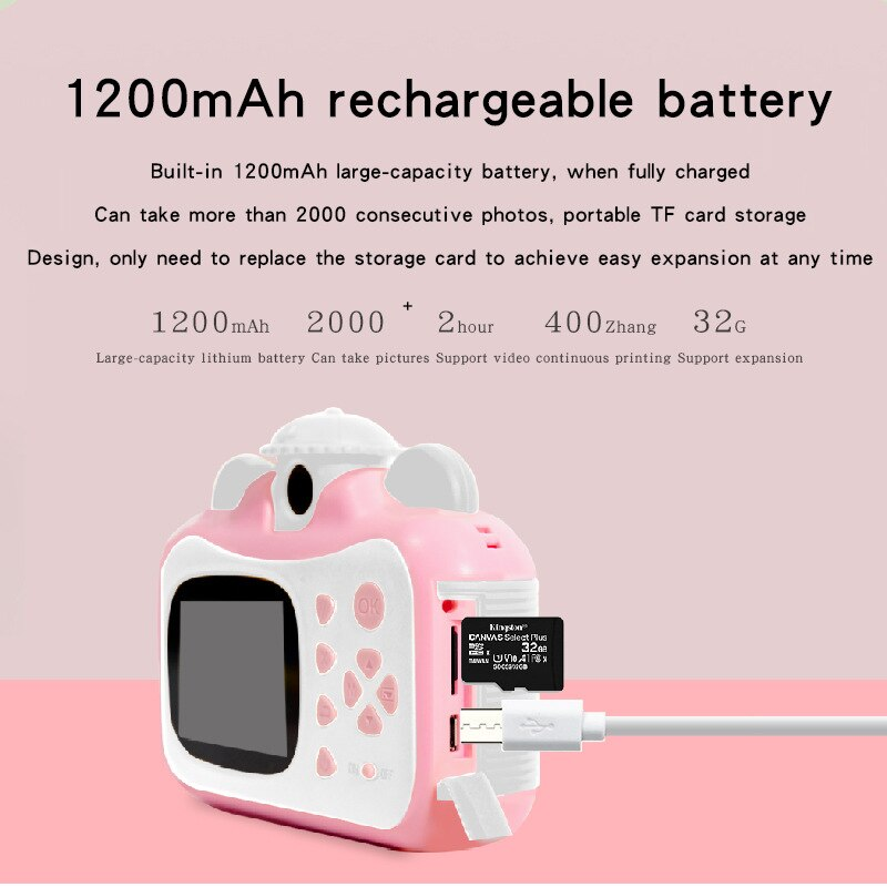 1080P Hd Children Camera Instant Print Camera for Kids Polaroid Camera with Thermal Photo Paper Toys Camera for Birthday Gifts enlarge