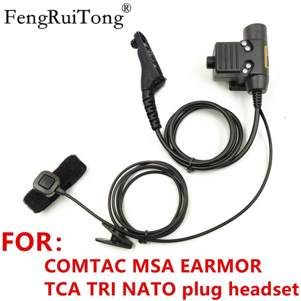 Tático u94 ptt para comtac msa earmor tca tri otan plug fone de ouvido para motorola apx6000 xpr6300 dp4800 mtp6550 p8200 p8268 rádio