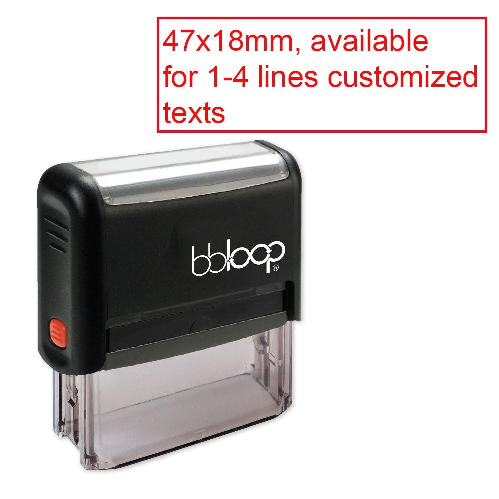 Bbloop Custom Rectangular Office 1-4 Lines Self-Inking Stamp