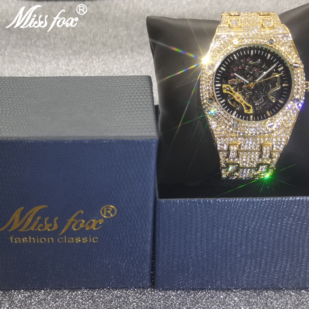 Top Design MISSFOX Brand Men's Watches Luxury Automatic Gold Business Watch Full Steel Transparent Mechanical AAA Male Clocks enlarge