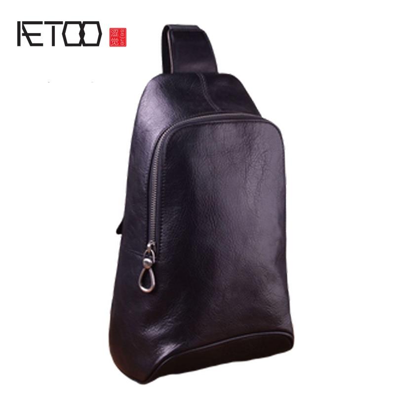 AETOO, bolso de pecho para hombre, bolso de hombro de moda de cuero, informal, deportes, diagonal, cruzado, capa de cabeza, de cuero, para hombre, ba