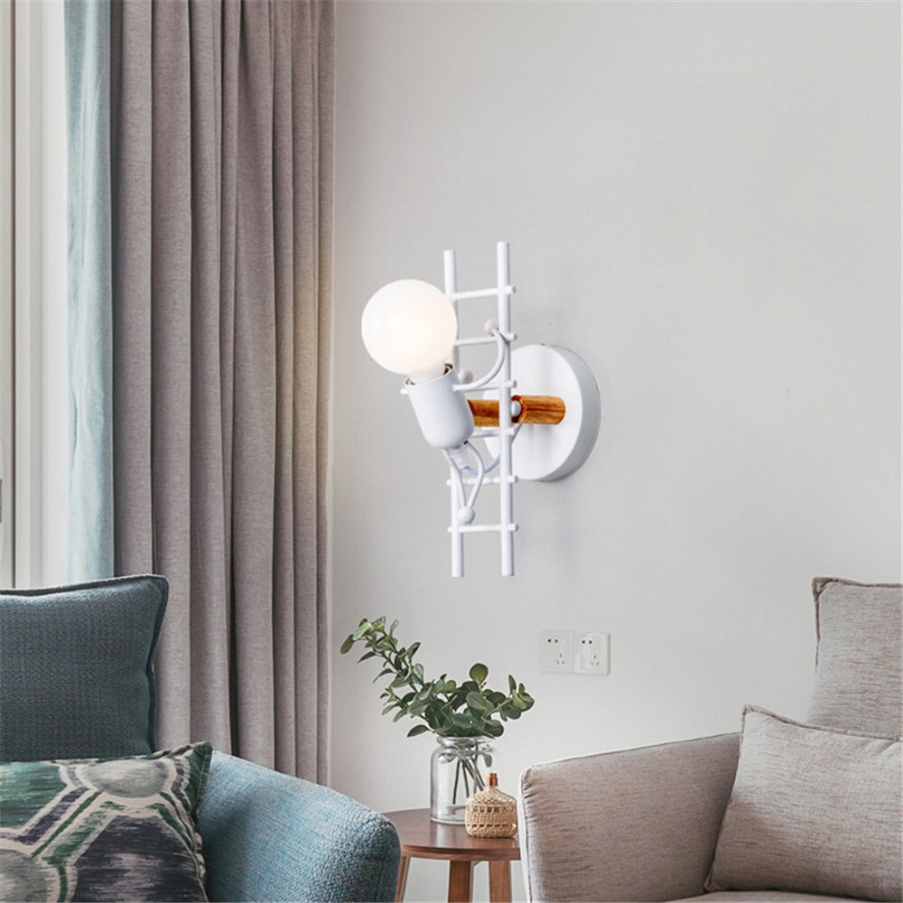American LED wall light industrial style iron art villain stairs wall sconce children room bedroom hotel bedside light fixtures