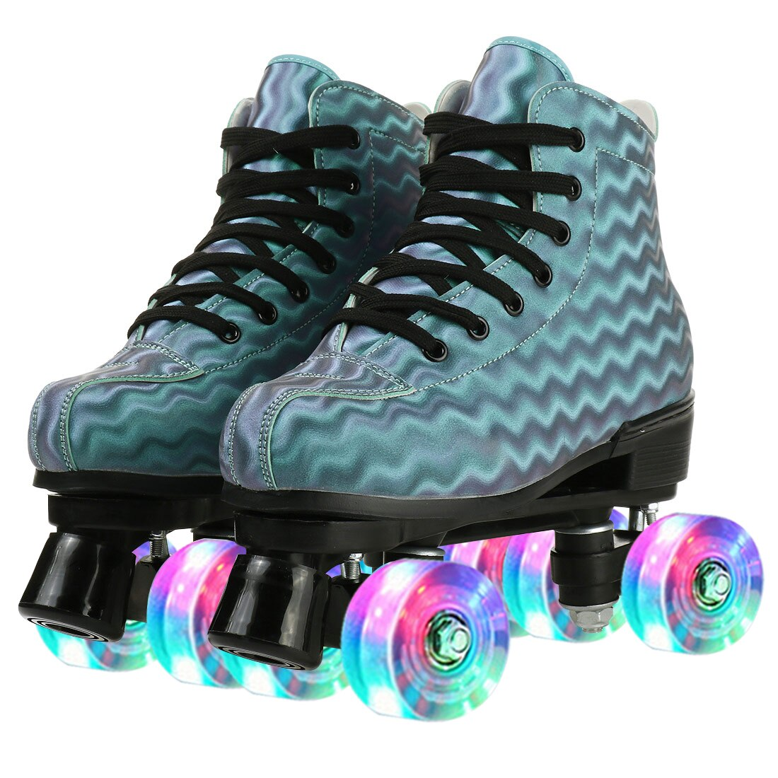 زلاجات دوارة في الهواء الطلق المبتدئين رباعية النساء الزلاجات البحر موجة أحذية انزلاق التزلج حذاء رياضة بليد ABEC-7 محامل Led 4 عجلات كول