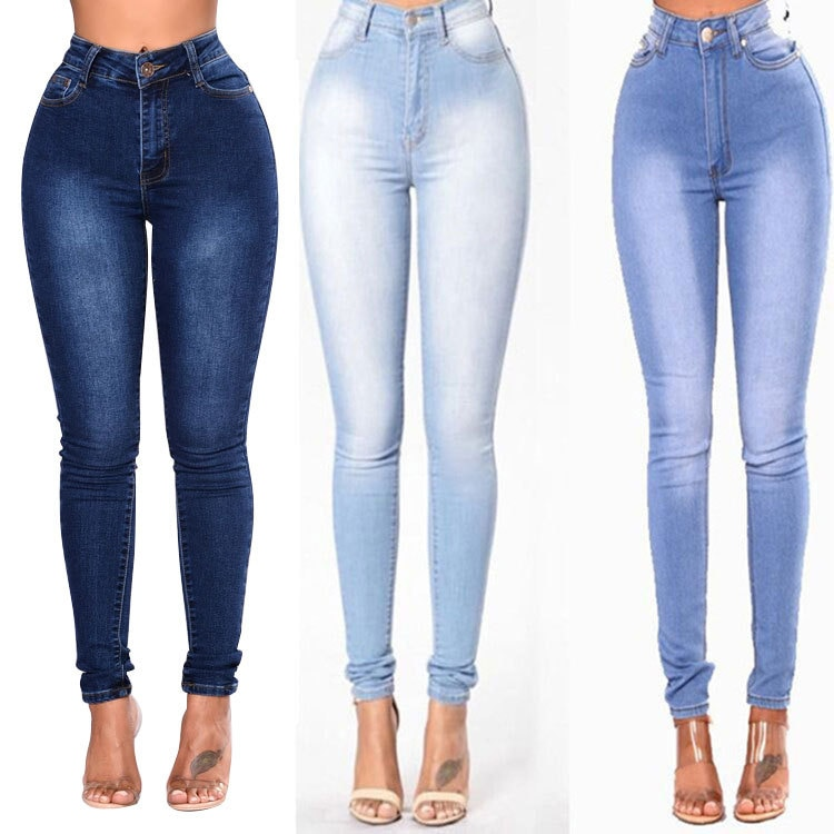 Otoño/Invierno 2019 Europa y América nueva moda Slim Stretch Denim Pantalones Mujer