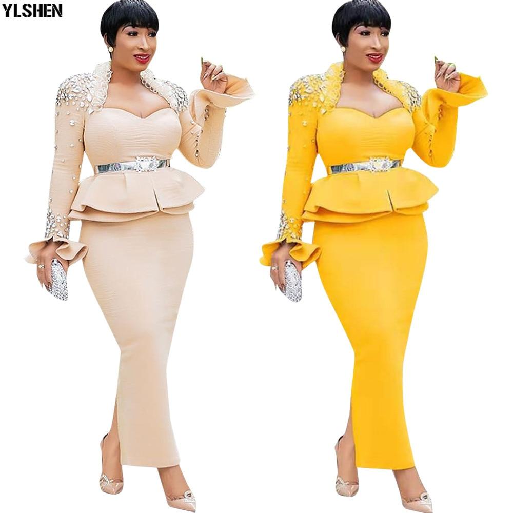 Длина 150 см африканские платья для женщин Дашики ногтей бисера африканская одежда космический слой африканская юбка платье с длинным рукав...