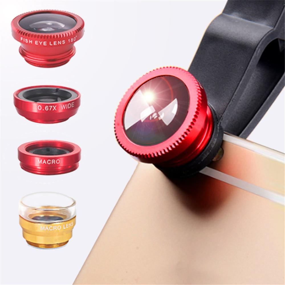 Lente de teléfono ojo de pez 0.67x gran angular lente de Zoom ojo de pez 6x lentes macro kit de cámara con Clip lente en el teléfono para smartphone