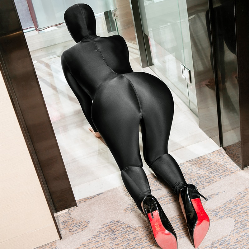 Women Tights Slim Open Crotch Shiny Jumpsuits Soft Sexy Transparent Bodysuits Halloween Costume Highly Elastic Cosplay Costume