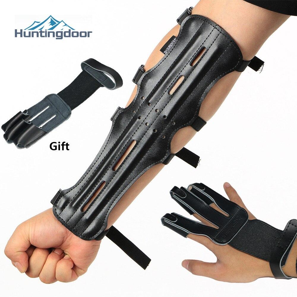 Protector de brazo de piel de vaca negra para tiro con arco, caza, Protector de mano, deportes al aire libre, accesorios de entrenamiento, protección para antebrazo