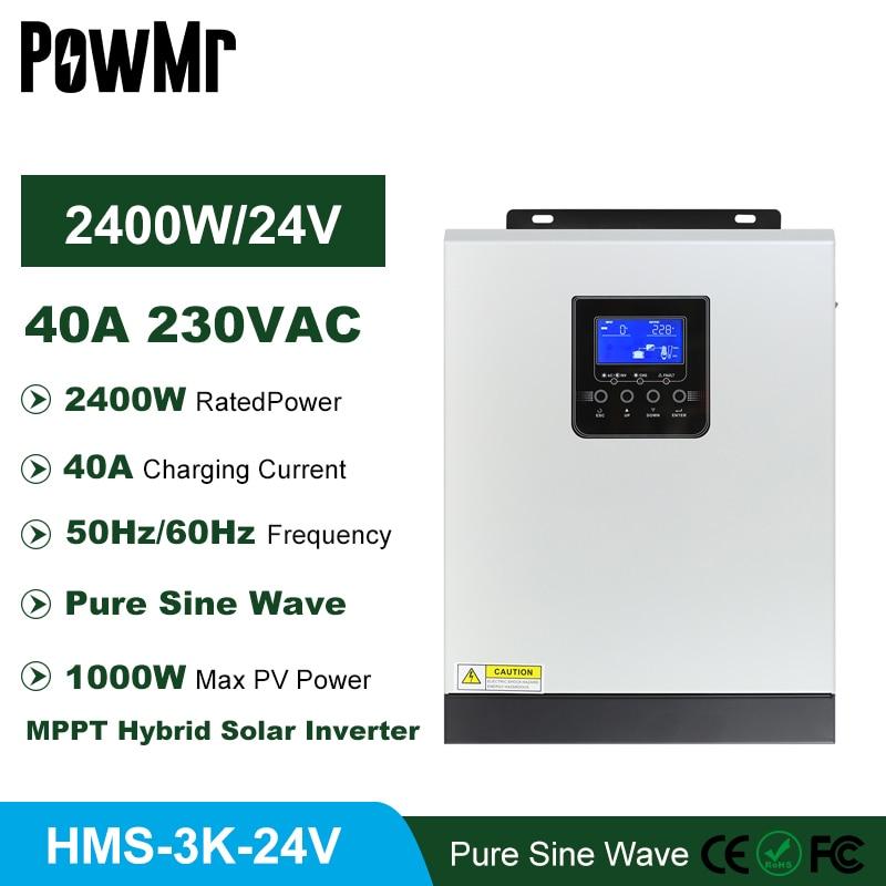 MPPT 40A 3000VA 2400 واط خارج الشبكة 220 فولت شاحن بالطاقة الشمسية العاكس مع 24 فولت شاحن بطارية نقية شرط موجة 50 هرتز/60 هرتز الهجين العاكس
