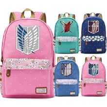 New Cartoon Anime Attack on Titan Flowers Polka Dot Boy Girl School bag Women Bagpack Teenagers Schoolbags Canvas Backpack
