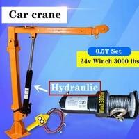 truck crane 0 5 ton 24v small truck crane 220v household electric hoist crane winch 3000 lbs truck crane