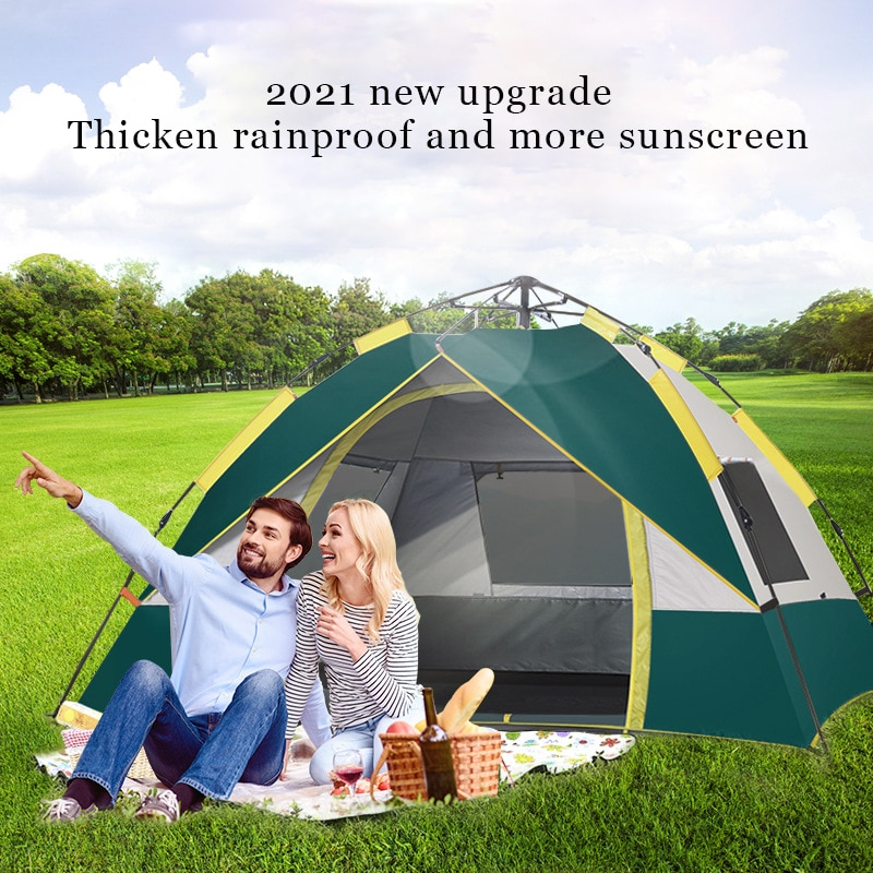 Automatic camping tent, portable 2-4 people tent, waterproof and convenient travel tent