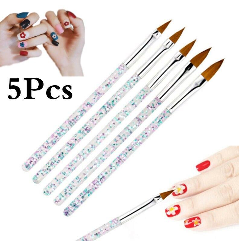 1 Набор инструментов для дизайна ногтей, кисть для ногтей, кристальная ручка, резная ручка, стержень с блестками, набор кистей для ногтей, кис...