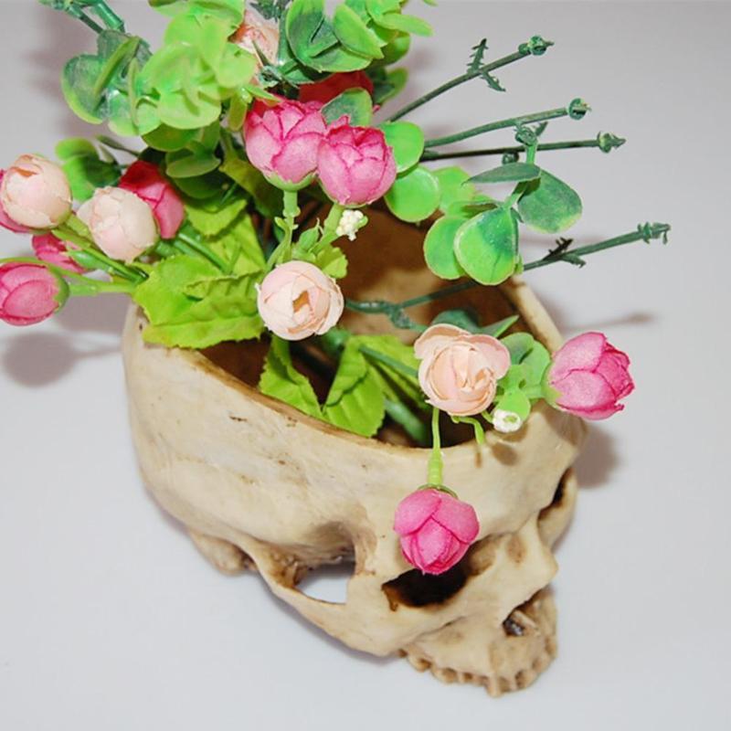 Модель черепа из полимера смолы цветочный горшок Хэллоуин блестящие фрукты тарелка человека контейнер для хранения дома отель украшения р...