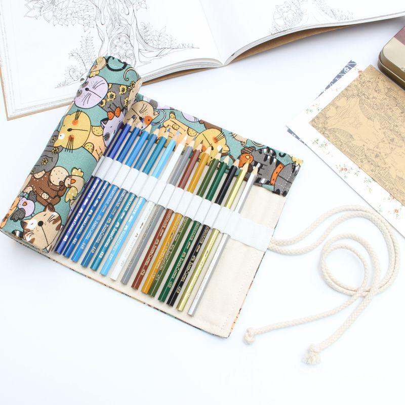 National Canvas cat School Pencil Case 36/48/72 Holes Roll Up Pencil Bag Portable Pencil Box School Supplies material escolar