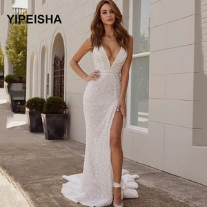 Arabic Sequins Evening Dresses Low V Neck Sexy Glitter Mermaid Party Dress High Side Split Formal Party Gown Robe de Soiree