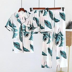 Women's Pajamas 100%viscose Floral Print 3 Piece Short Sleeve Shorts Trousers Soft Sleepwear Female Leisure Comfortable Homewear