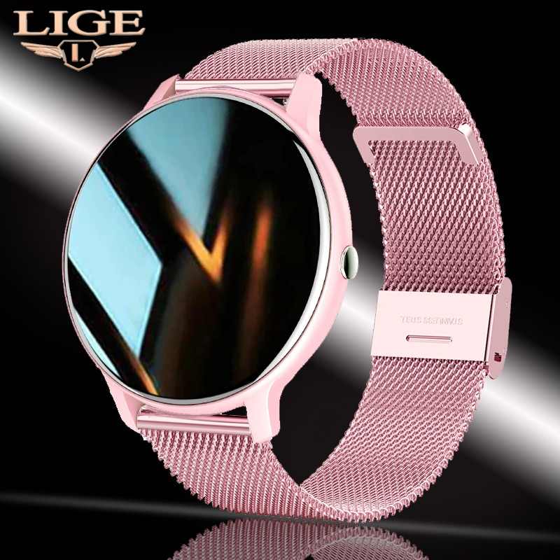 LIGE 2021 جديد ساعة ذكية النساء معدل ضربات القلب ضغط الدم المعلومات تذكير الرياضة اللياقة البدنية شاشة تعمل باللمس الكامل السيدات Smartwatch