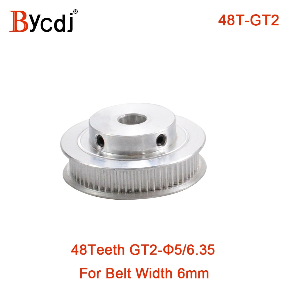 GT 48 Teeth 2M 2GT Timing Pulley Bore 5/6/6.35/7/8/10/12/14mm for GT2 Open Synchronous belt width 6/10mm wheel 48Teeth 48T