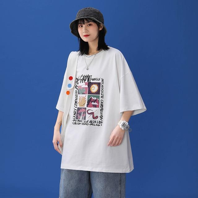 Oversized T-shirt Women 100% Cotton Short Sleeve Unisex O-Neck Tshirt Fashion Casual Harajuku Plus Size Tees 2021 punk clothes 2