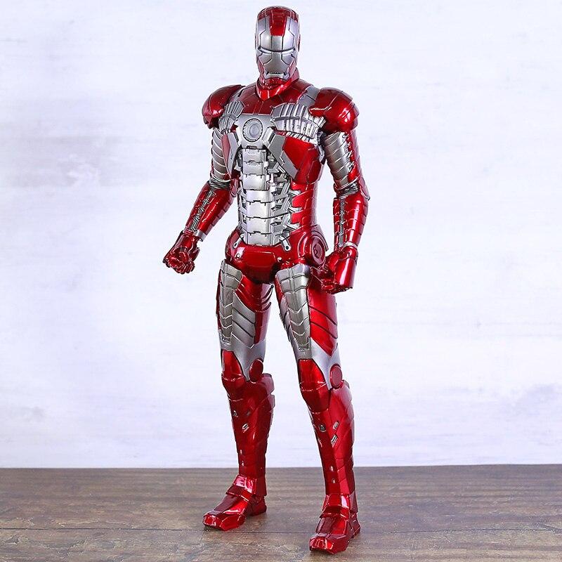 Juguetes locos Marvel Avengers Iron Man Mark V MK5 PVC figura coleccionable modelo figuras de juguete