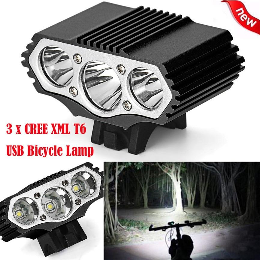 Bicycle Light 12000Lm CREE 3 x XML T6 LED 3 Modes USB Bicycle Alloy Lamp Bike Cycling Light Headlight Cycling Torch Flashlight
