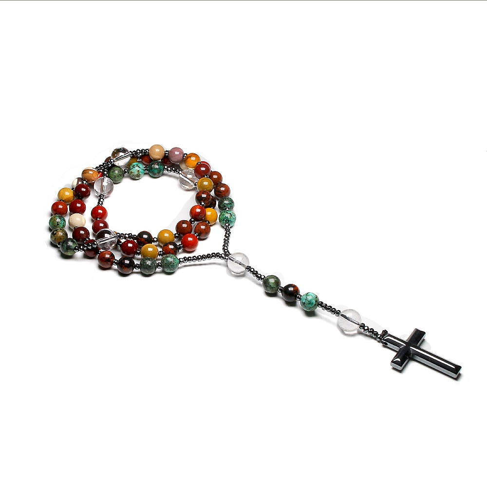 Natural Quartz Mookaite Beads Catholic Christ Rosary Necklaces Hematite Cross Pendant Necklace For Women Men Meditation Mala