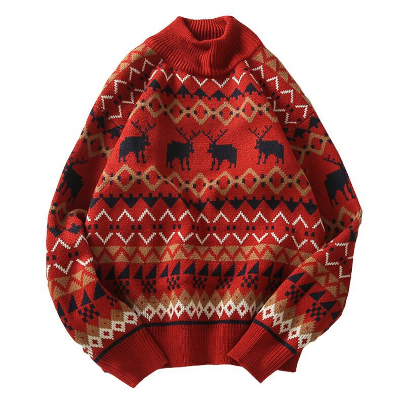 Christmas Printed Deer Sweater Fashion Men Sweater Knitwear Uni Streetwear Jersey Pull Homme Half Turtleneck Vintage Sweater