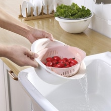 MASCOTANGEL Kitchen Double Drain Basket Bowl Washing Kitchen Strainer Noodles Vegetables Fruit Storage Basket Kitchen Tool
