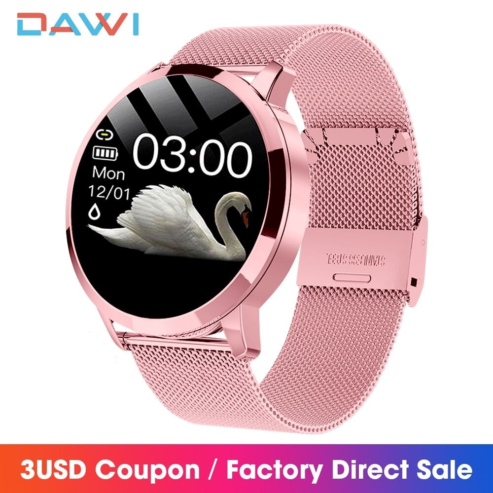 DAWI Fashion Women Smart Watch OLED Heart Rate Blood Pressure Monitor Pedometer Fitness Bracelet Wat