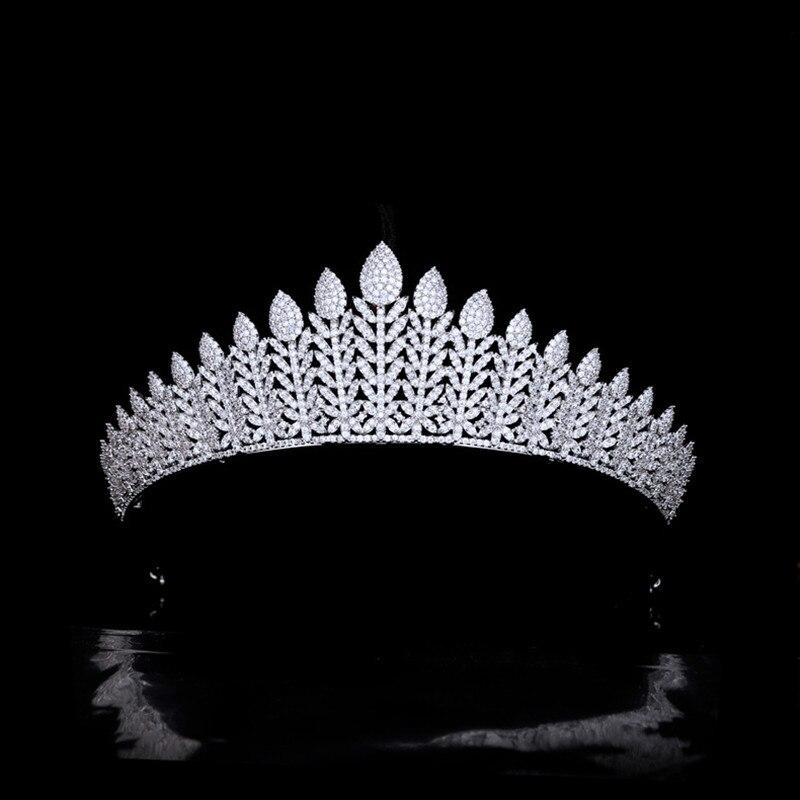 فاخر ريترو الزفاف تاج الزفاف الزركون العروس تيجان الأميرة عقال حفلة Porm الشعر مجوهرات اكسسوارات HQ0466