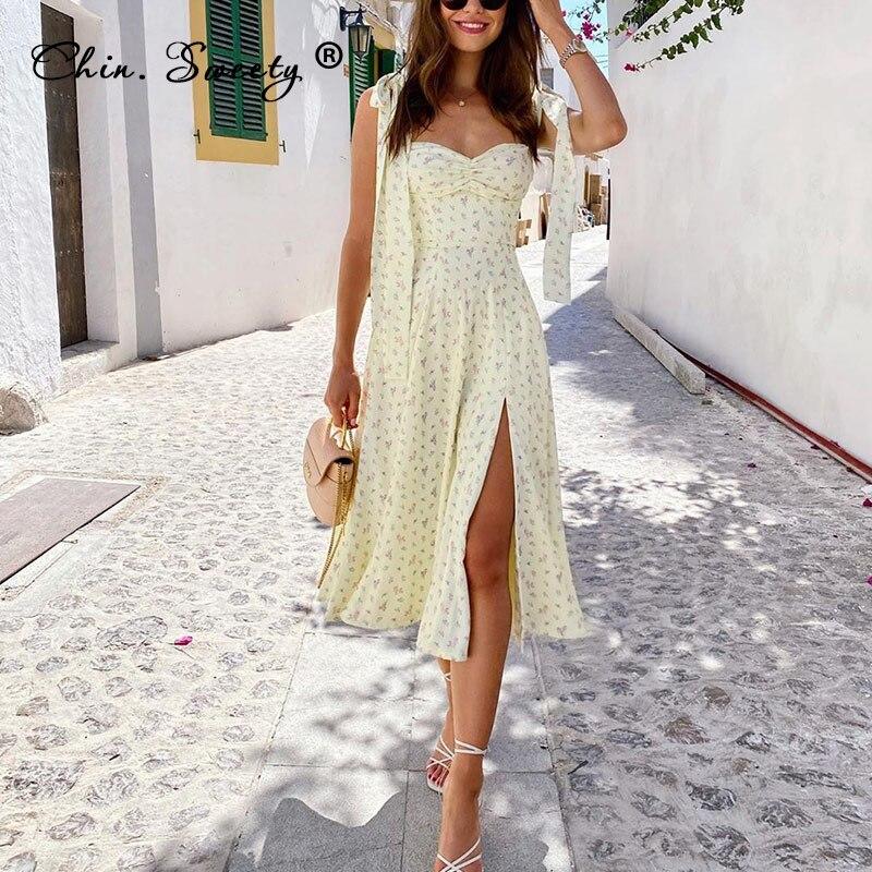 Платье женское с узлом и цветочным принтом, изящное длинное платье невесты с разрезом и высокой талией, милая одежда для леди, лето 2021   Женская одежда   АлиЭкспресс