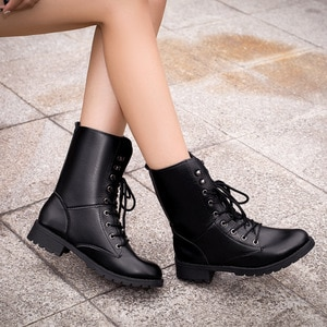 Ankle boots for women black large size  fleeces motorcycle boots increase comfortable leather boots women spring 2020
