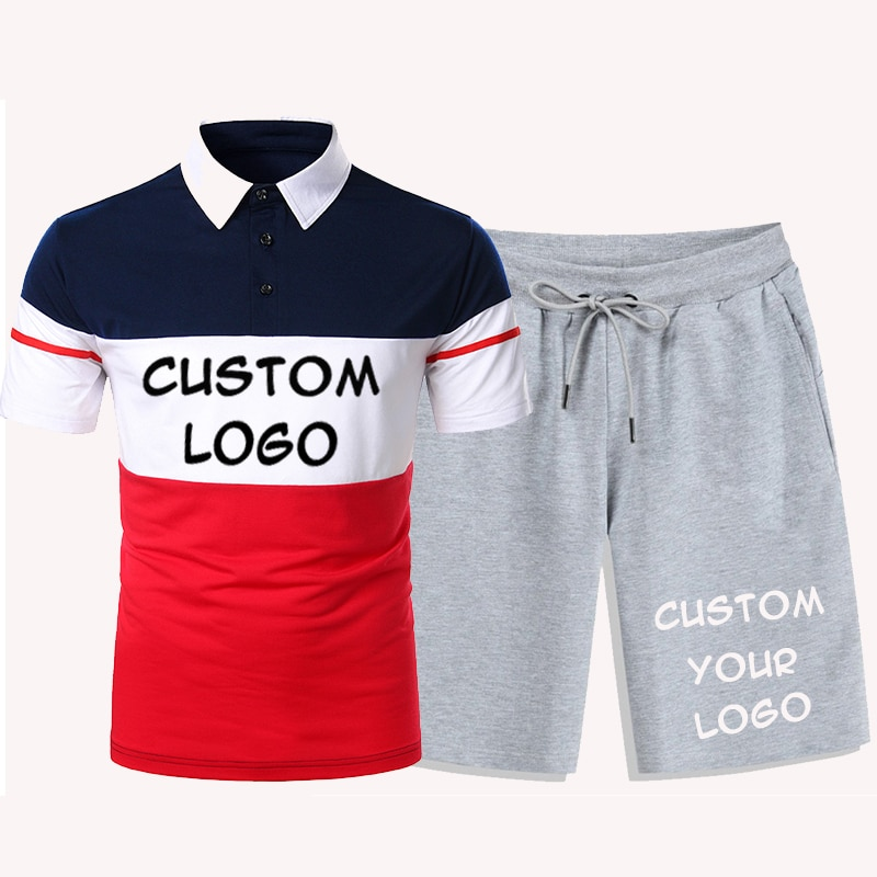 Custom Logo Contrast Color Polo Shirt Tracksuit Men's Short Sleeve Summer Casual Beach Shorts + Polo Shirt 2-Piece Set custom embroidery personalised polo shirt full color text logo print work uniform workwear company design your own polo