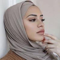 ribbed jersey hijab women scarves headwear for women muslim shawls headscarf black hijab jersey islam muslim fashion scarf 2021