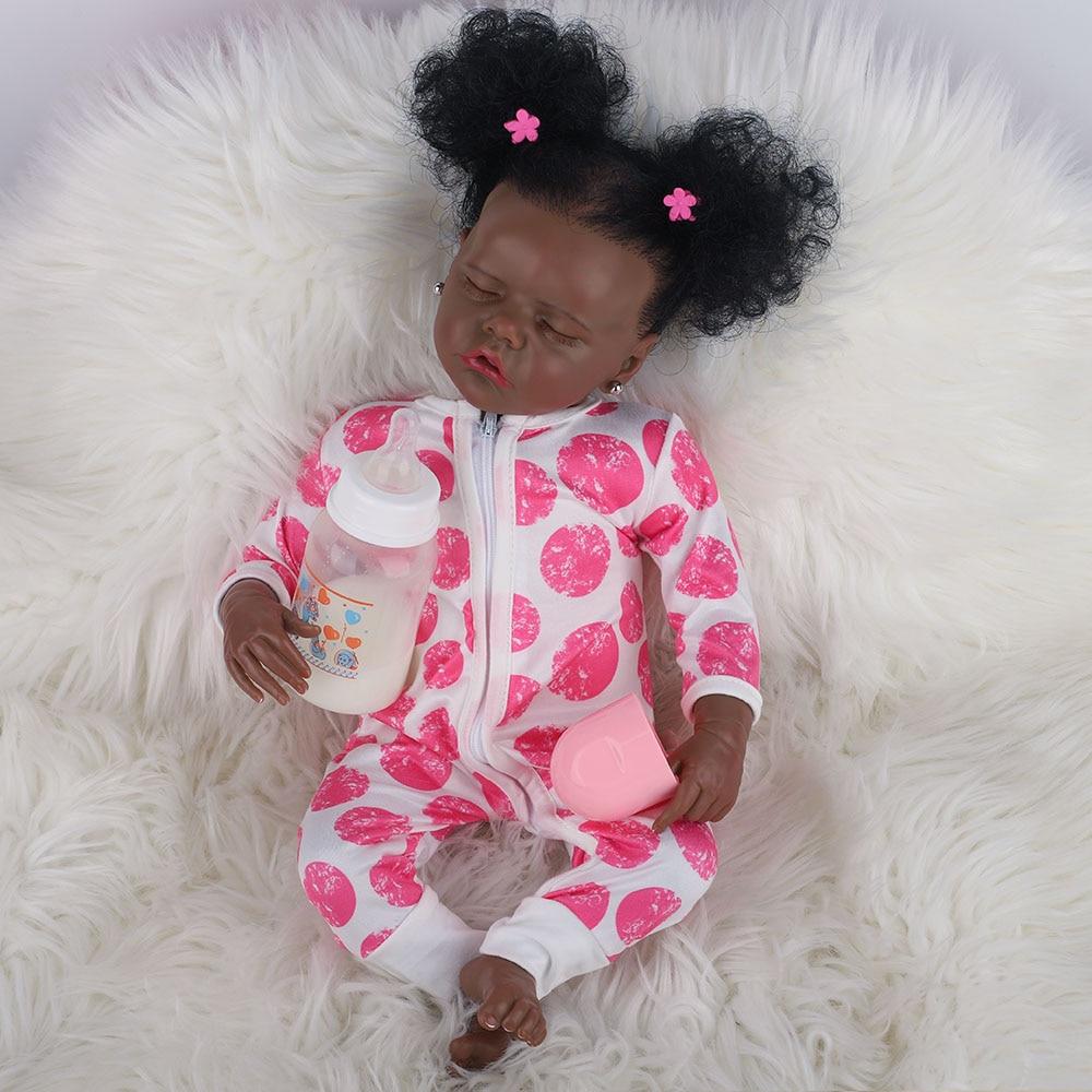 Hoomai 43cm New Black Skin Saskia With Teeth Reborn Todderl Girl Baby Doll Full Body Silicone African American Baby
