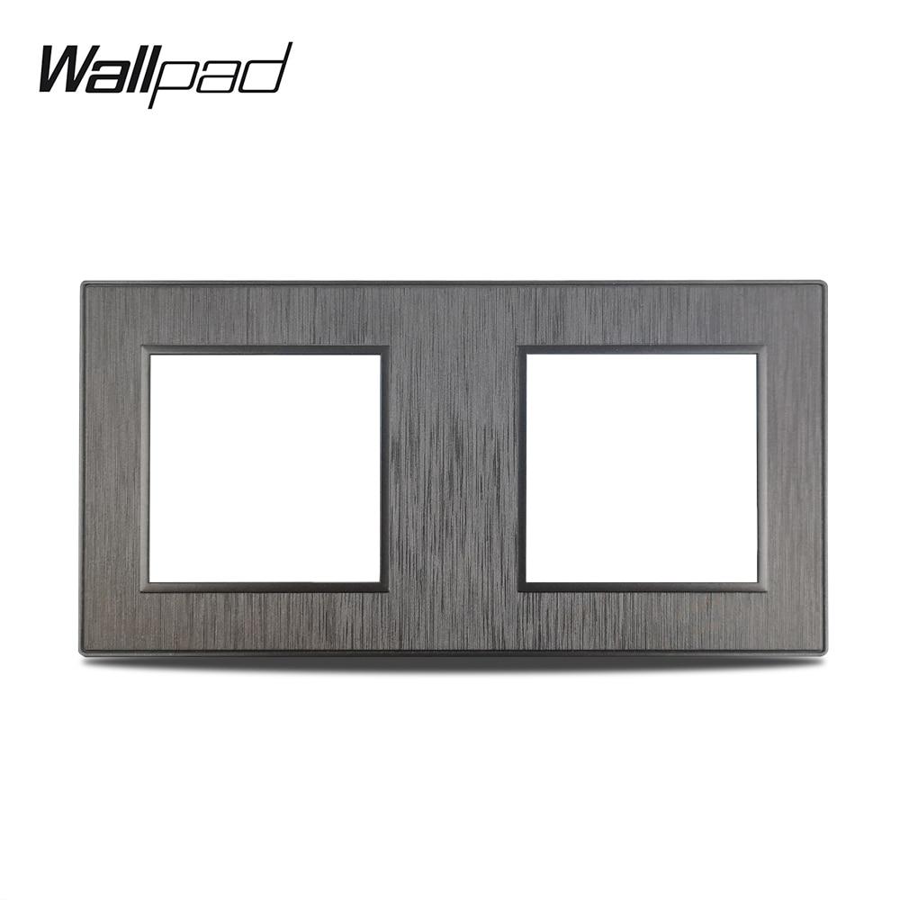 Wallpad-S6 لوحة سوداء مزدوجة من البلاستيك المصقول لمفتاح الجدار ، لوحة ألومنيوم تقليد ، 172 × 86 مللي متر ، DIY