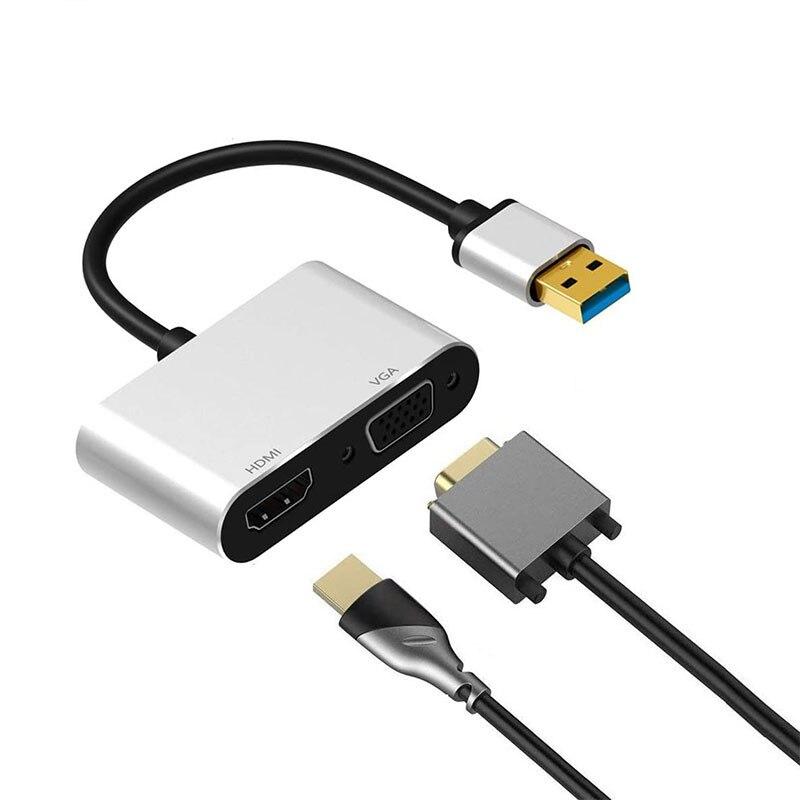 2 في 1 USB HUB USB 3.0 إلى HDMI محول VGA USB الفاصل 1080P USB إلى HDMI VGA لأجهزة الكمبيوتر المحمول سطح المكتب