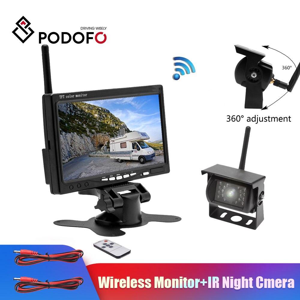 """Podofo inalámbrico 7 """"HD TFT LCD Monitor de cámara de visión trasera de vehículo de respaldo + Ir visión nocturna sistema de cámara de respaldo de visión trasera para camión RV"""