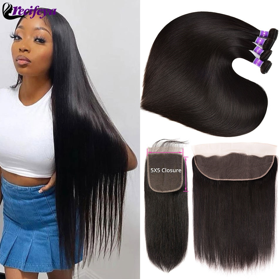 HD 5X5 Lace Closure With Bundles Brazilian Straight Hair Bundles With Frontal Bone Straight Human Hair 2/3 Bundles With Closure