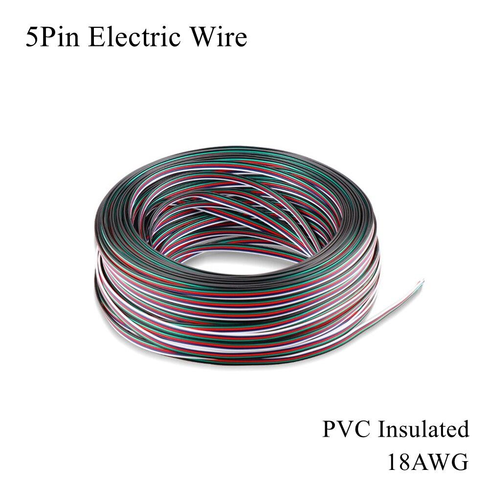 Cable eléctrico de cobre estañado de 5 pines 18AWG, Cable aislante de...