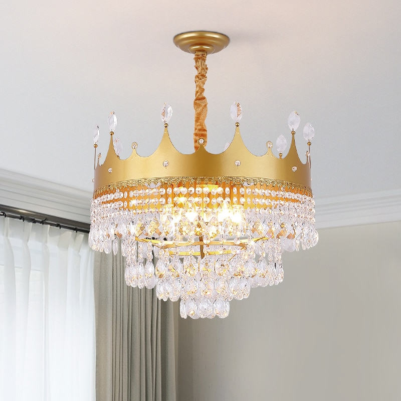 Lustre led de coroa de ouro, para sala de jantar, sala de estar, luminária suspensa, preto/cristal/dourado acabado terminado,