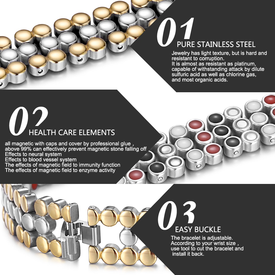 Купить с кэшбэком RainSo Stainless Steel Magnetic Charm Bracelets for Women Bio Energy Therapy Love Bracelet Femme Health Jewelry Mothers Day Gift