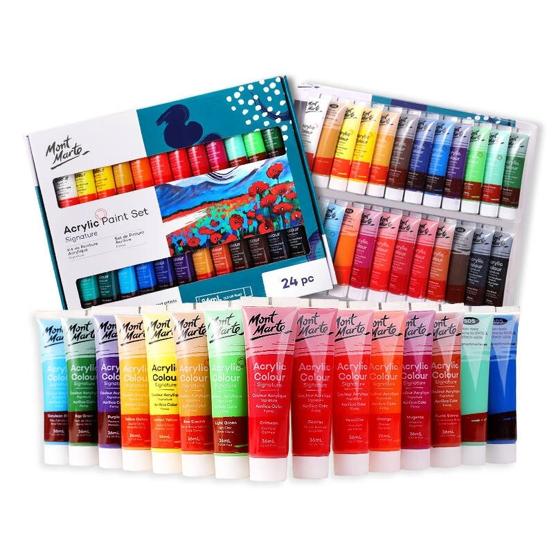 36ml acrylic paint set 12/18/24 color waterproof acrylic paint DIY hand-painted clothes shoes ceramic painting supplies